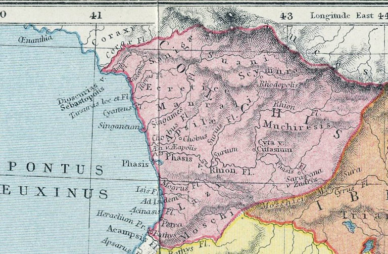 Map of the ancient Caucasus showing the Colchis region, 1907.