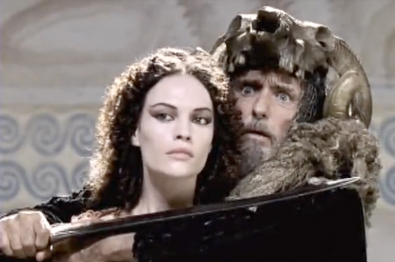 Dennis Hopper threatens Medea in the 2000 TV mini-series of the Jason story.