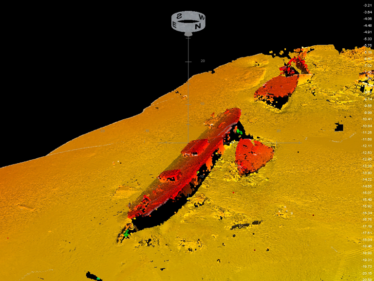 Wreck detected by multi-beam echo sounder by Georgian State Hydrological Service, at the bottom of the sea off Poti.